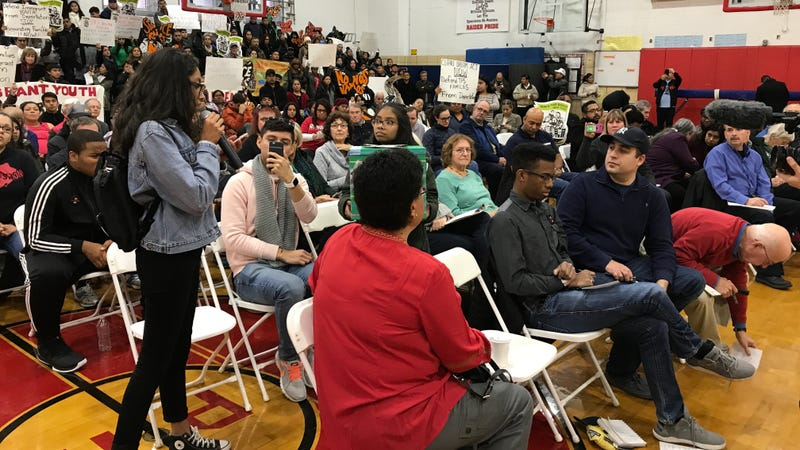 Gisele Mendez, one of several high school students who spoke at Dan Donovan's town hall today. Image via Make the Road.