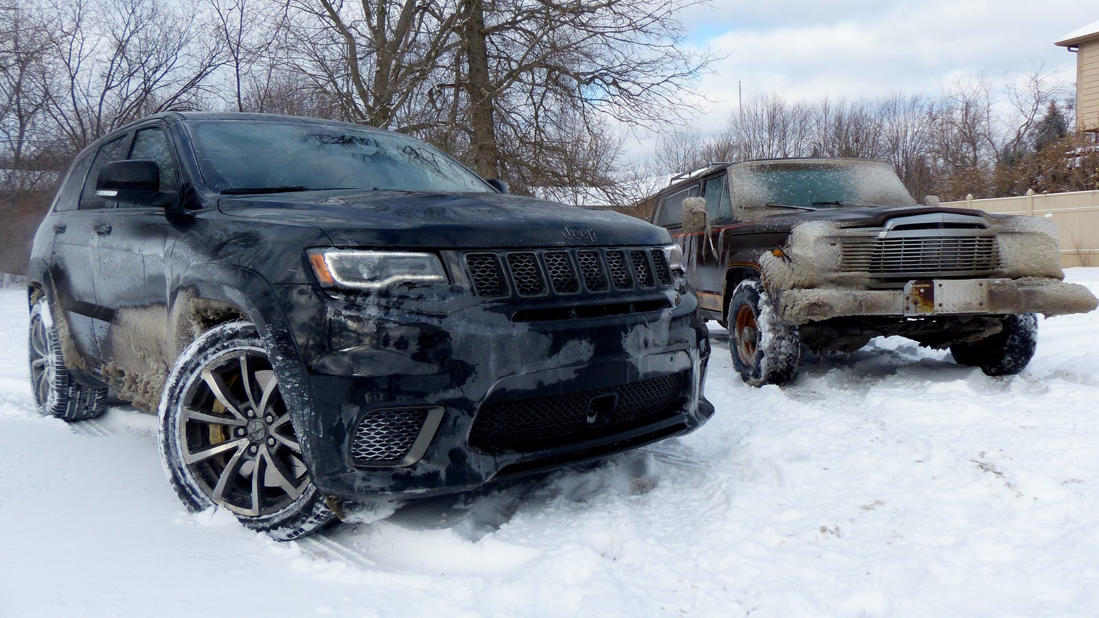 Towing An Old Jeep Through An Ice Storm With A 707 HP Jeep Grand Cherokee Trackhawk Was Truly Terrifying
