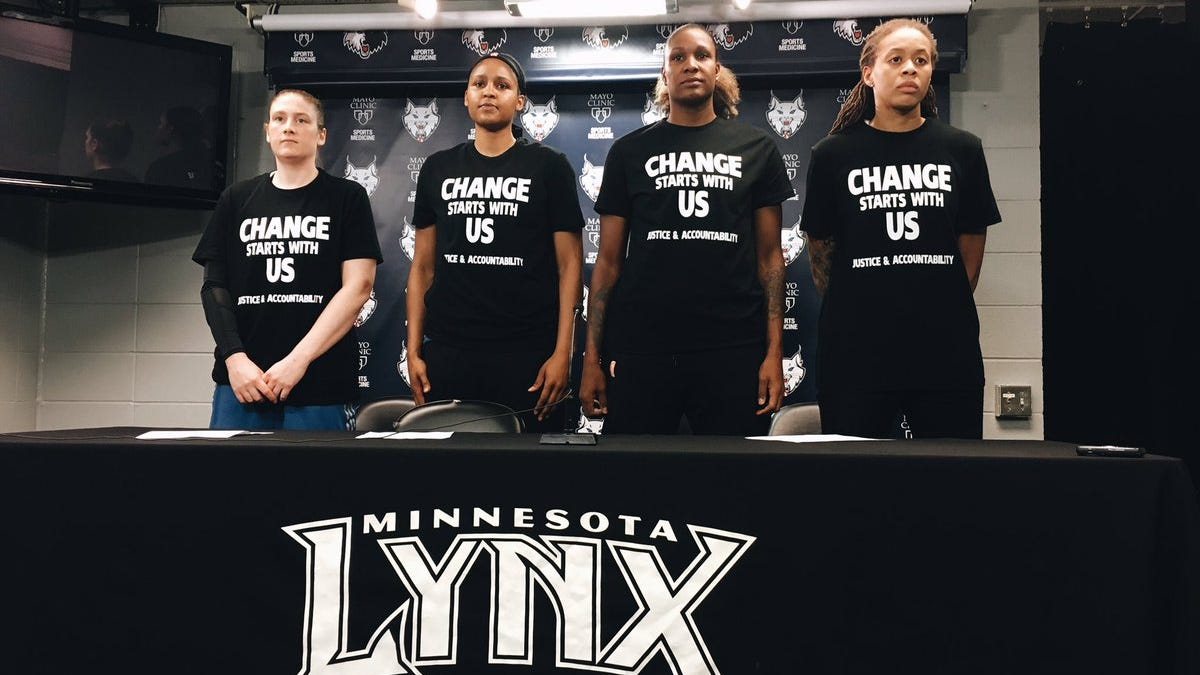dae19a5a06e7 Off-Duty Cops Walk Off Job as Security for Minn. Lynx Game After Players  Warm Up in Black Lives Matter Shirts