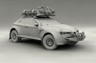 Illustration for article titled Alfa Romeo Brera stars in a scale-model Dakar fantasy