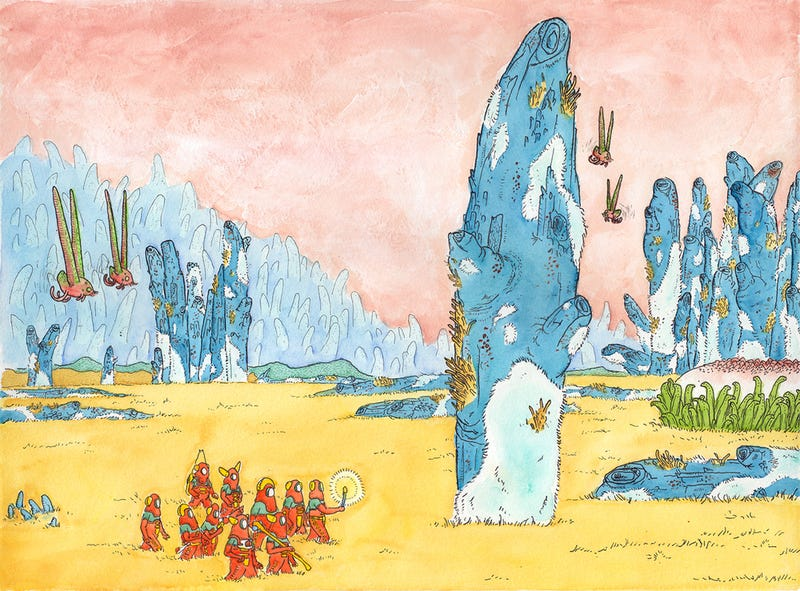 Illustration for article titled Concept Art Writing Prompt: A Trek Across The Savannah