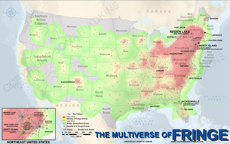 A Detailed Map Showing All The Mysteries Of Fringe - Us map pictures of couple
