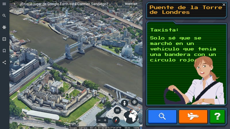Illustration for article titled El minijuego de Carmen Sandiego oculto en Google Earth es sencillamente genial