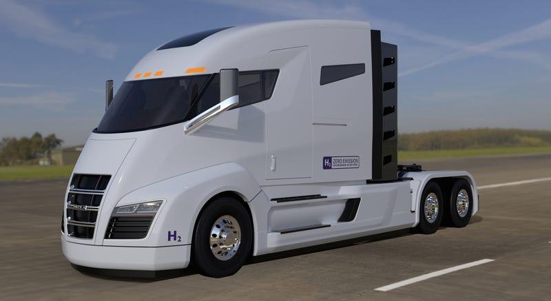 "Nikola has updated their renders with little ""Hydrogen"" decals. (Image: Nikola Motor Company)"