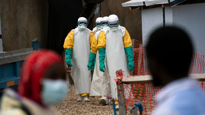 Health workers beginning a shift in an Ebola outbreak zone in Beni, Democratic Republic of Congo, in July 2019.