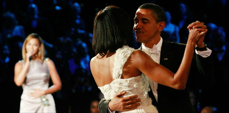 """The Obamas dance at the first inaugural ball, Jan. 20, 2009, as Beyoncé sings """"At Last."""" Win McNamee/Getty Images"""