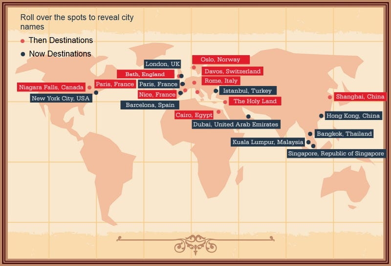 Illustration for article titled Infographic Reveals How Tourism Has Changed Over 150 Years