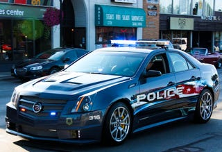 Illustration for article titled 2009 Cadillac CTS-V Police Car Creates Car Enthusiast Paradox