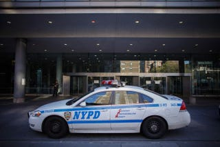 An NYPD car stands outside Bellevue Hospital Oct. 25, 2014, in New York City.Kena Betancur/Getty Images