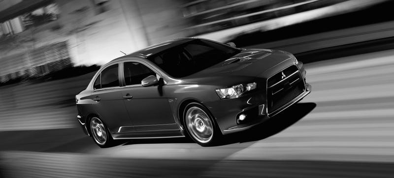 Illustration for article titled Mitsubishi Publishes Black And White Shots Of The 2015 Evo Because Meh