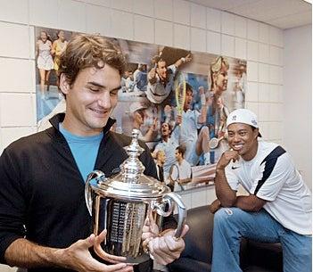 "Illustration for article titled Roger Federer Spoke To His Elusive Shaving Buddy Tiger Woods: ""He Needs Calm."""