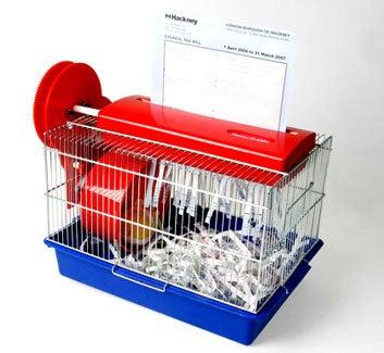 Illustration for article titled Hamster Powered Paper Shredder