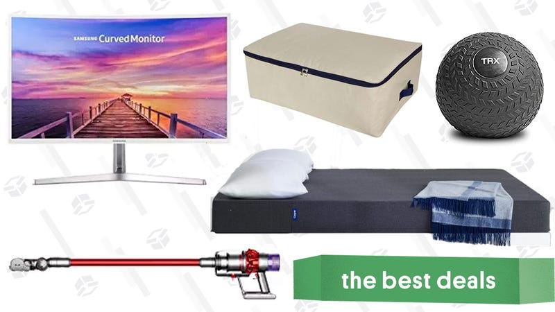 Illustration for article titled Monday's Best Deals: Casper Essential Mattress, Dyson Cordless Vacuums, Curved Monitor, and More