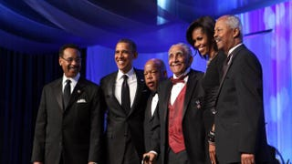 """President Barack Obama (second from left) pictured at a Congressional Black Caucus event dinner in Washington, D.C., Sept. 24, 2011, where the president admonished the CBC to """"stop complaining."""" Pictured with Obama are Rep. Emanuel Cleaver II (D-Mo.), Rep. John Lewis (D-Ga.), the Rev. Joseph Lowery, first lady Michelle Obama and Rep. Donald Payne (D-N.J.).Chris Kleponis-Pool/Getty Images"""