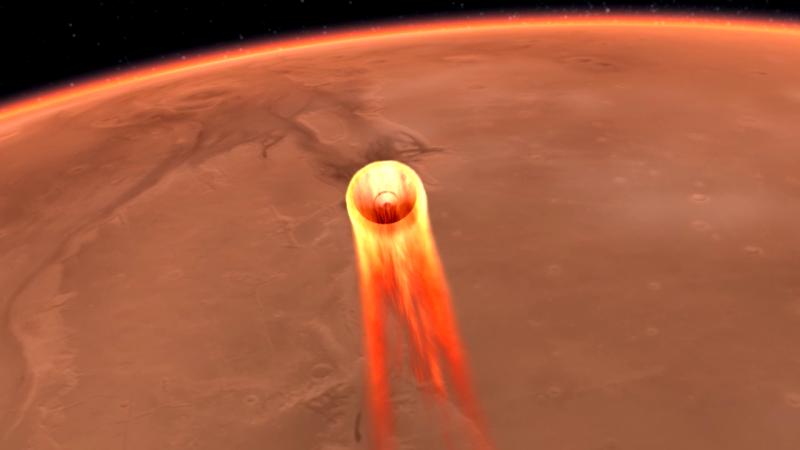Una simulation de la InSight aproximándose a Marte. Ilustración: NASA/JPL