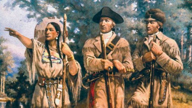 Sacagawea telling Lewis and Clark how to get back east.