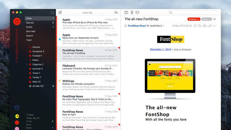 Airmail for Mac Wunderlist and Todoist Integration, Split Screen