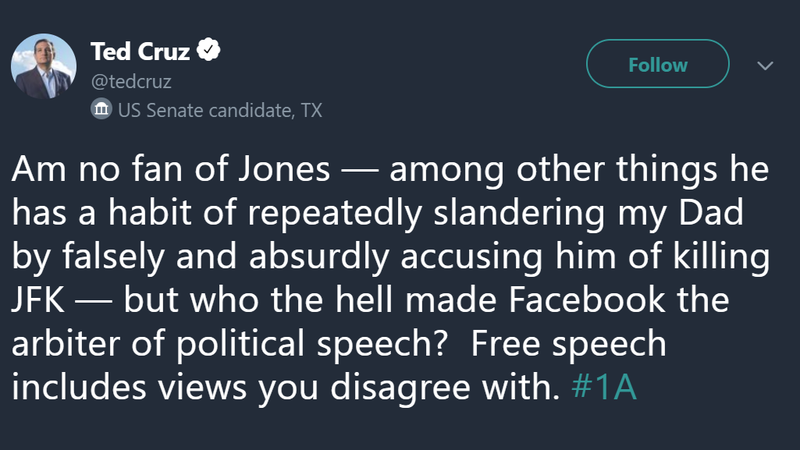Illustration for article titled Ted Cruz Bravely Defends Alex Jones Against Facebook's Temporary Internet Jail
