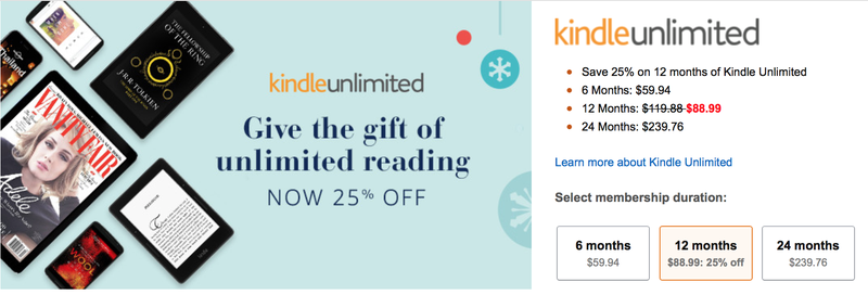 Kindle Unlimited 12 Month Subscription, $89