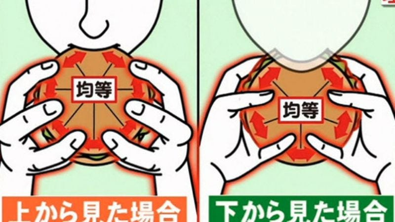 Illustration for article titled Scientists have found the most efficient way to hold and eat a hamburger