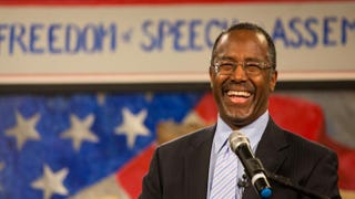 Ben Carson speaks at the South Carolina Tea Party Coalition Convention on Jan. 18, 2015, in Myrtle Beach, S.C. A variety of conservative presidential hopefuls spoke at the gathering on the second day of the three-day event.Richard Ellis/Getty Images