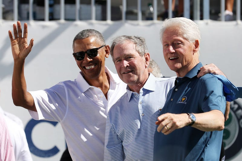 Former Presidents Barack Obama, George W. Bush and Bill Clinton (Rob Carr/Getty Images)