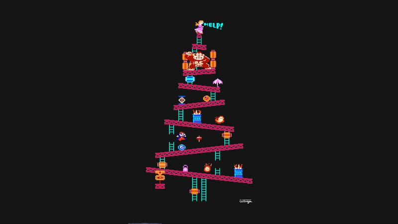 Illustration for article titled Don't Have A Christmas Tree? Hang This Donkey Kong One Up On Your Wall.