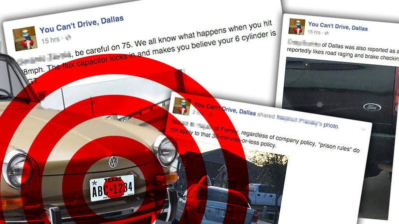 Illustration for article titled Facebook Group Publicly Reveals The Identities Of Dallas' 'Bad' Drivers