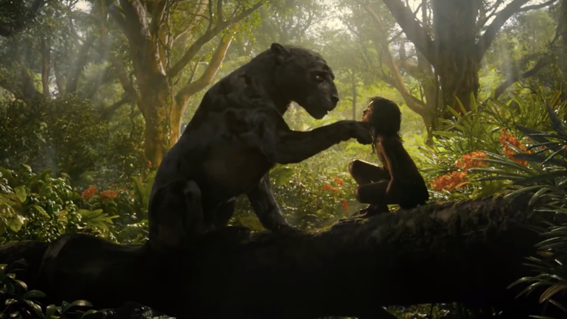 Bagheera comforting his brother Mowgli.