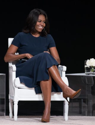 First lady Michelle Obama joins the Let Girls Learn global conversation at the Apollo Theater Sept. 29, 2015, in New York City.Dave Kotinsky/Getty Images for Global Goals