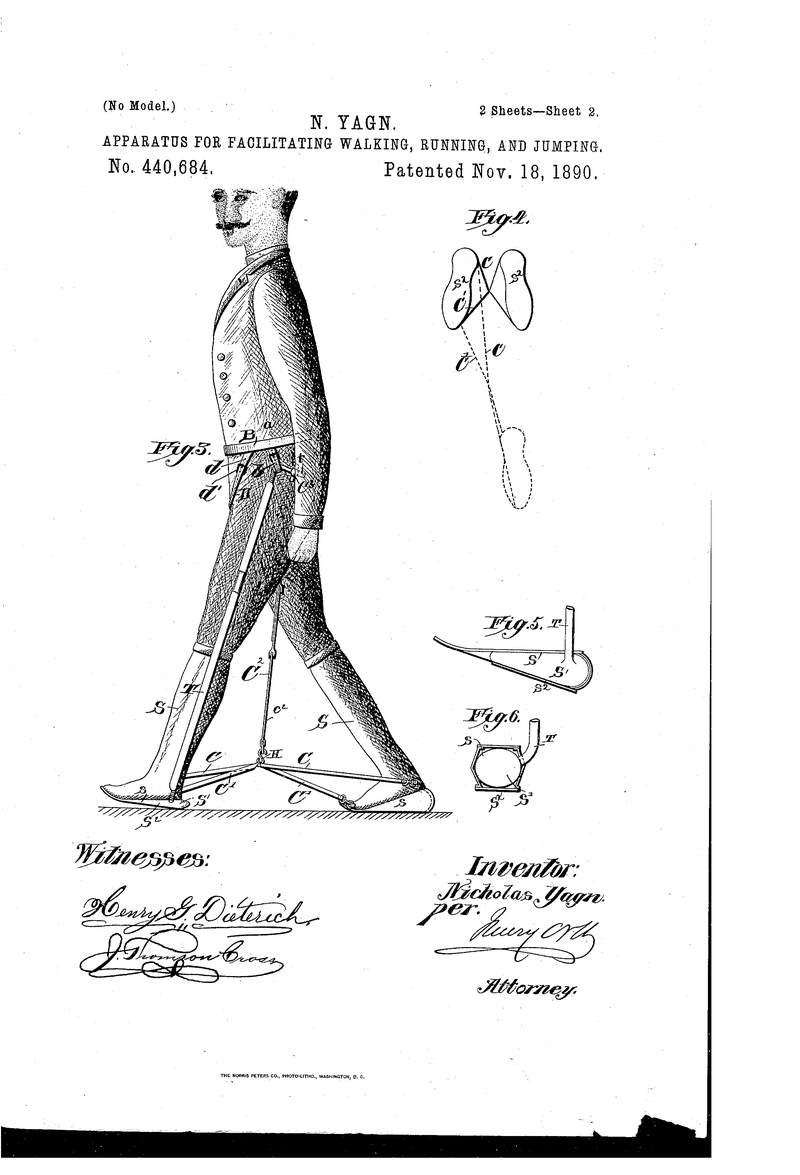 Illustration for article titled US patent no. 440684: the powered exoskeleton!