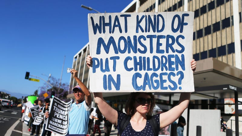 Protestors demonstrate against the separation of migrant children from their families in front of the Federal Building on June 18, 2018 in Los Angeles, California.
