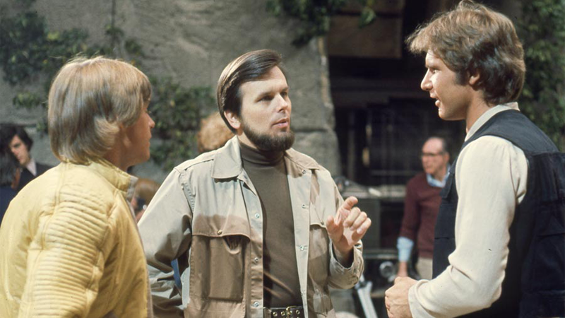 Kurtz talking to Mark Hamill and Harrison Ford on the set of Star Wars.