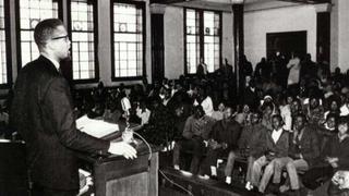 Malcolm X speaks in Selma, Ala., in 1965