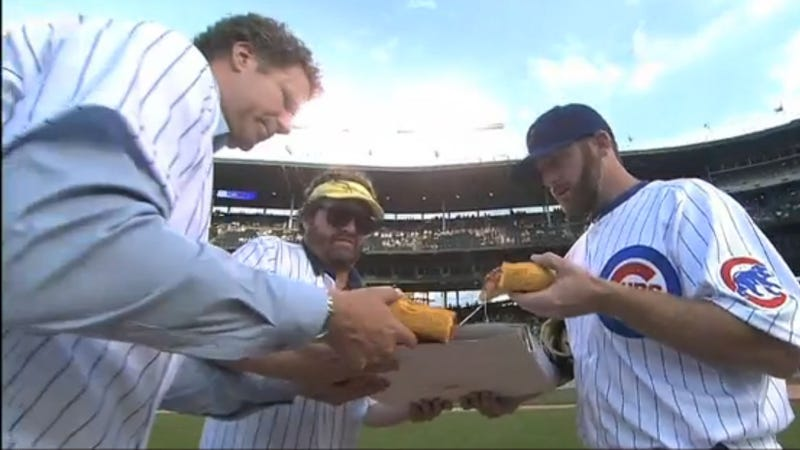 Illustration for article titled Will Ferrell, Zach Galifianakis, And Ryan Dempster Ate Pizza Together On The Wrigley Field Mound