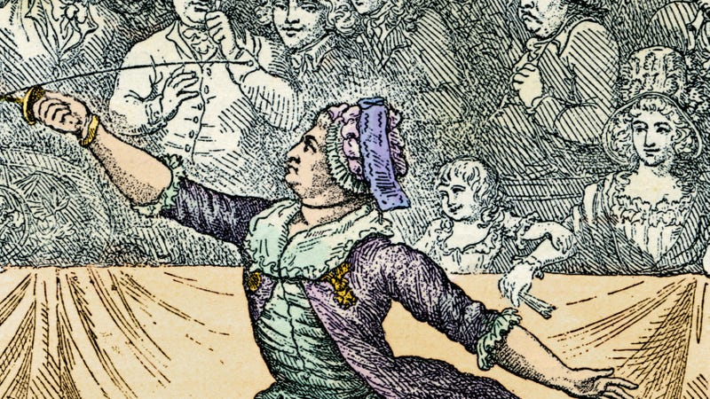 Detail from an image of a friendly fencing demonstration between Chevalier d'Èon and Le Chevalier de Saint-Georges in London, April 1787. (Fototeca Storica Nazionale/Getty Images)