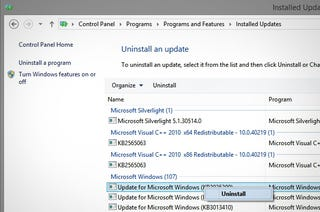 Illustration for article titled How to Uninstall a Windows Update that Broke Something