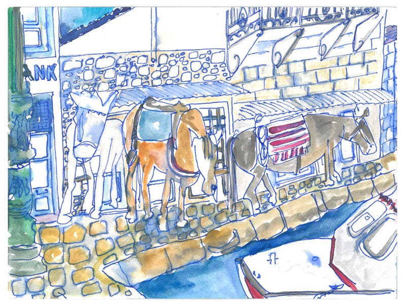 DONKEYS AT THE PORT IN HYDRA