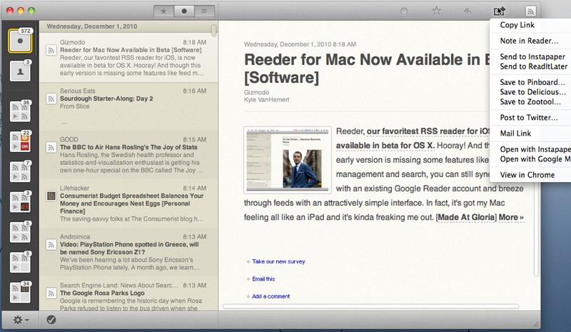 Illustration for article titled Reeder for Mac Beta Brings Slick Feed Reading to Desktops