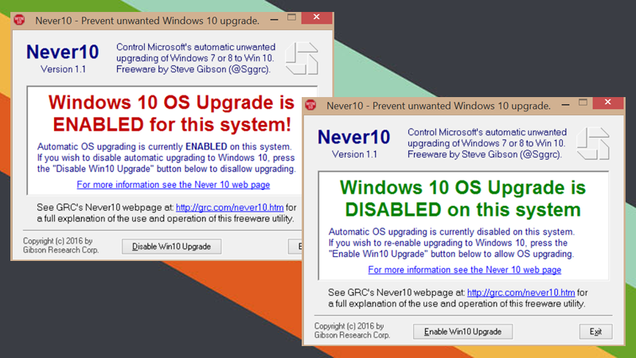 Never10, Simple and Free Utility Prevents Upgrading to Windows 10