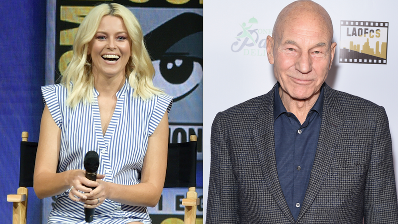 Elizabeth Banks at San Diego Comic-Con in 2018; Patrick Stewart at the Inaugural Los Angeles Online Film Critics Society Awards.