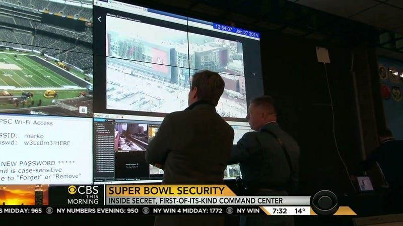 Illustration for article titled CBS Broadcasts Wi-Fi Password For Secret Super Bowl Security Center