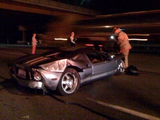 The Driver Of This Once Gorgeous Silver Ford Gt Was Cited With A Misdemeanor For Failure To Control The Vehicle After Smashing It Into A Median On A