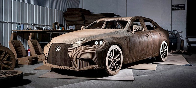 Illustration for article titled You Can Drive Lexus' Laser-Cut Cardboard Car, But You Probably Shouldn't