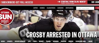 Illustration for article titled Sidney Crosby Was Not Arrested In Ottawa