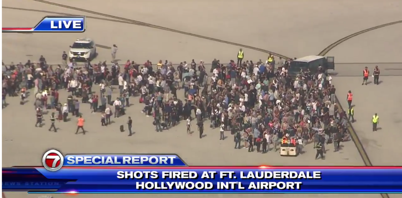 Scene at Fort Lauderdale-Hollywood International Airport after deadly shooting there Jan. 6, 2016WSVN screenshot