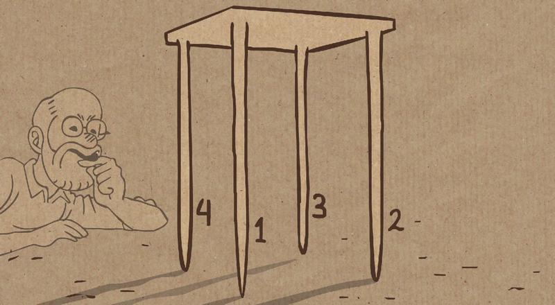 Cómo arreglar una mesa que cojea, según las matemáticas
