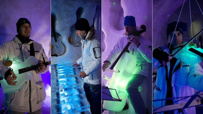Illustration for article titled Coolest band in the world plays with musical instruments made from ice