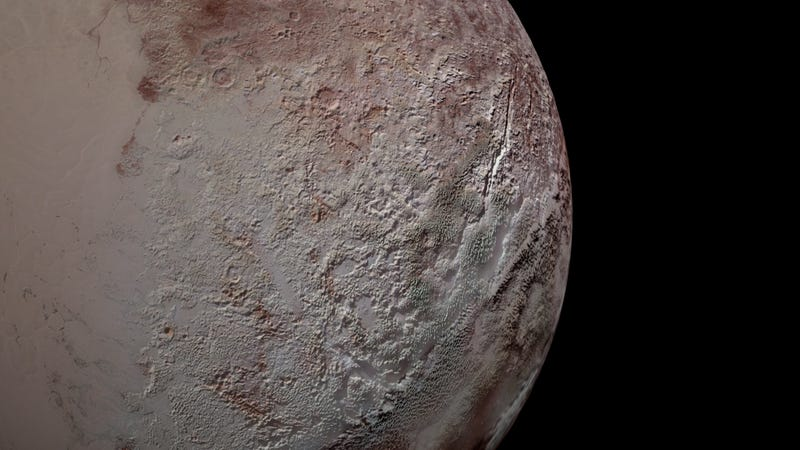 Pluto's bladed terrain as seen from New Horizons during its July 2015 flyby. (Image: NASA/JHUAPL/SwRI)