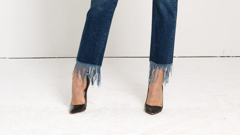Illustration for article titled Set Your Blenders to 'FASHION,' Because Frayed-Hem Jeans Are In